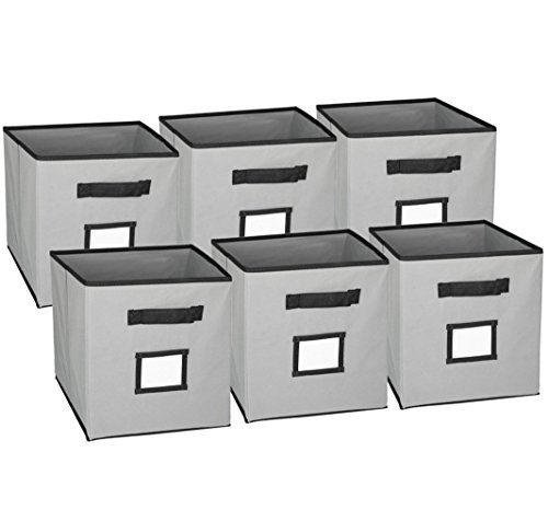 Cubicle Fabric (Hangorize Collapsible Fabric Cubicle Storage Bins, Gray, 6 Pack, with Handy Label Window to Make Identifying Contents Easy. Set Includes 6 Foldable Storage Cube Basket)