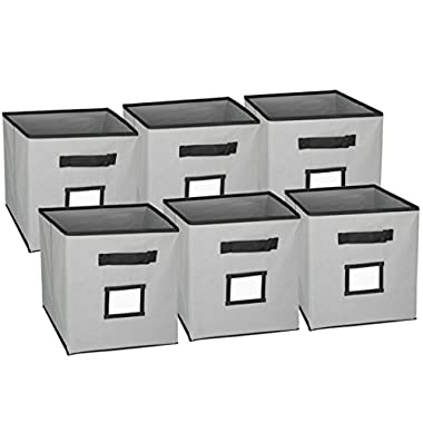 Hangorize® Collapsible Fabric Cubicle Storage Bins, Gray, 6 Pack, with Handy Label Window to Make Identifying Contents Easy. Set Includes 6 Foldable Storage Cube Basket Bins