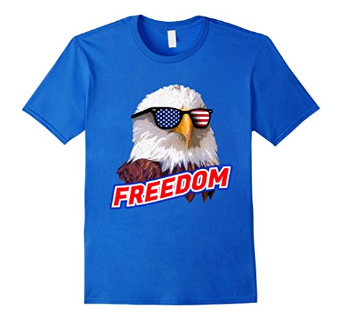 Mens Retro Vintage 4th of July T-shirt, Bald Eagle Sunglasses XL Royal - Man Bald Sunglasses