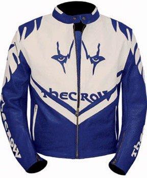 kc004 chaqueta piel moto quad Karno - The Crow azul y blanco ...