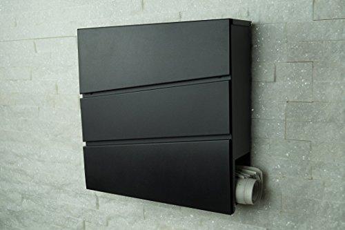Designer Briefkasten / Mailbox / Wandbriefkasten Modell 333 schwarz mit Zeitungsfach