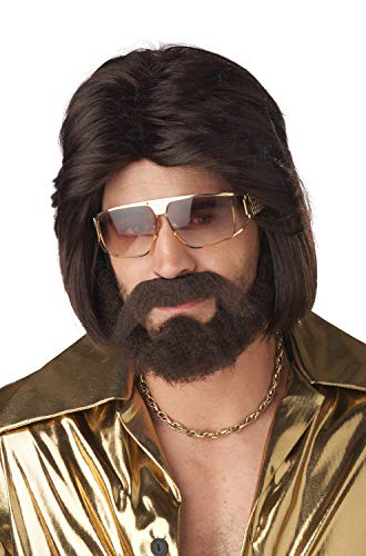 California Costumes Mens Sexy 70's Man Brunette Wig, Beard and Mustache Brown -
