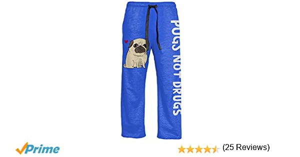 Amazon.com: Gemma Correll Pugs Not Drugs Adult Heather Blue Lounge Pants: Clothing