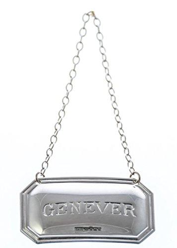 (Genever Cut Corner English Sterling Silver Decanter Label)
