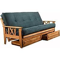 Futon Complete w/ Drawer Set Eldorado Medium Oak Frame w/ Mattress 8 Innerspring Sofa Bed Set (Navy)