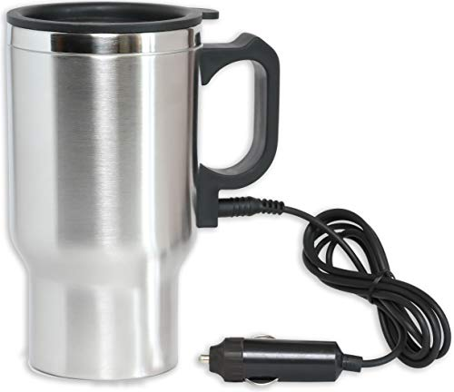 12V Heated Travel Car Mug - Insulated Stainless Steel Auto 16Oz DC Coffee Water Tea Drink Thermos Cup - Keep Drinks Warm ()