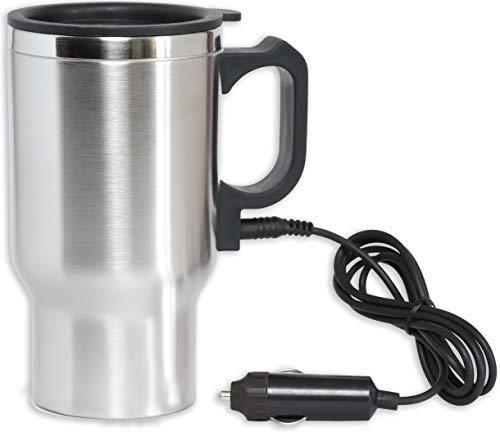 Mug Auto Travel - 12V Heated Travel Car Mug – Insulated Stainless Steel Auto 16Oz DC Coffee Water Tea Drink Thermos Cup - Keep Drinks Warm