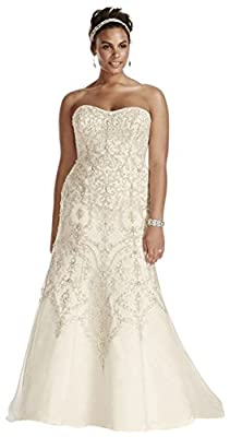 Plus Size Oleg Cassini Tulle Beaded Mermaid Wedding Dress Style 8CWG706