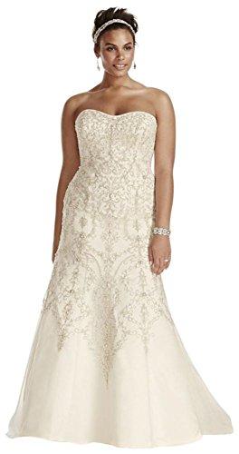 Plus Size Oleg Cassini Tulle Beaded Mermaid Wedding Dress Style 8CWG706, Ivory, 16W