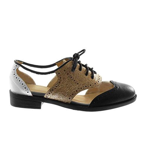 cm Nero 2 Scarpa Angkorly bi Perforato Trasparente Materiale Donna Lucide Scarpe 5 a Blocco Tacco Moda Derby qawUZa