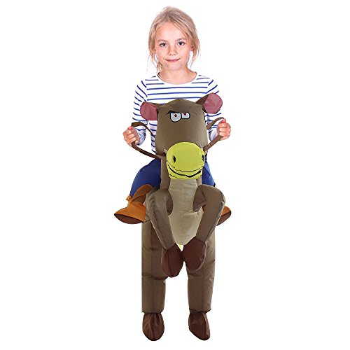 Kid Horse Costumes (TOLOCO Inflatable Western Cowboy Riding Horse Halloween Costume (Horse-Child))