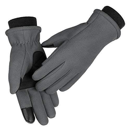 OZERO Womens Gloves Touch Screen Thermal Polar Fleece Hands Warm in Cold Weather for Winter Cycling and Running X-Small Gray