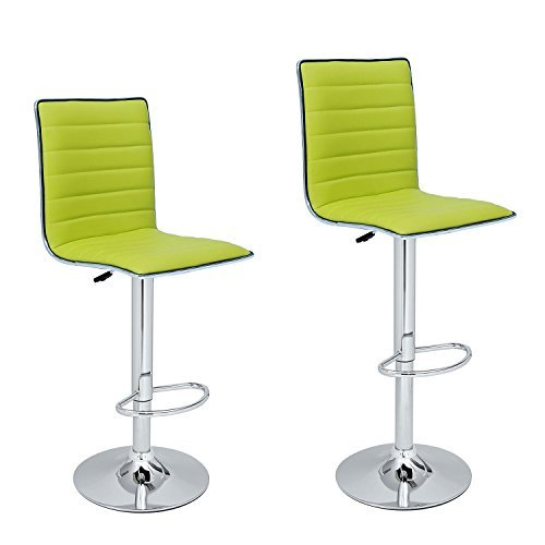 Adeco Lime-Green Adjustable Leather Look, Horizontal Channel Accents Barstool Chair(Set of Two)…, Lemon Green