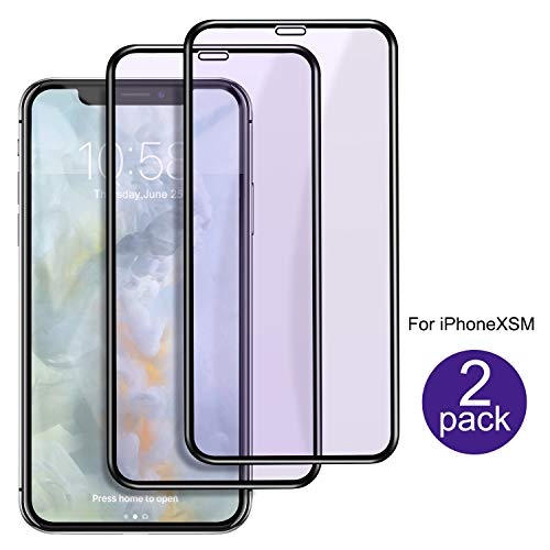 Compatible iPhone XR Screen Protector Full Coverage [2-Pack], Anti Blue Light 9H Tempered Glass Screen Protector Anti-Scratch 3D Curved Edge Design for Apple iPhone XR (6.1 inch)-Blue
