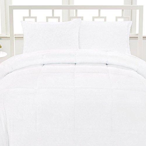 Aurora Bedding Luxurious Down Alternative Soft Solid Box Stitch Brushed Microfiber Comforter Bedding, Full, White (Comforter Aurora)