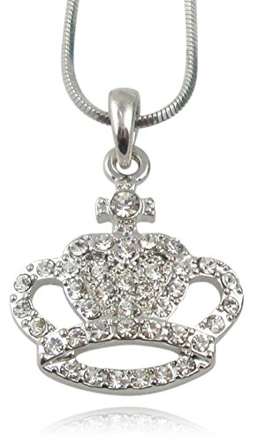 Princess Queen Crystal Embellished Crown Pendant Necklace for Girls, Teens, Women (Clear) -