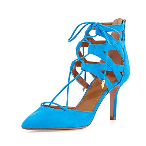 Minitoo Ladies MA52519 Trendy T-strap Zip Leather Dress Party Ankle Bootie Shoes Pumps Blue