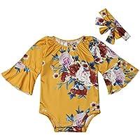 Newborn Baby Girl Floral Bodysuit Headband 2pcs Flare Sleeve Romper 0-24 Month