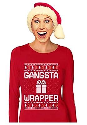 Tstars - Gangsta Wrapper Funny Ugly Christmas Sweater Women Long Sleeve T-Shirt