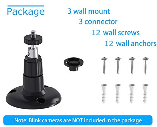 Blink XT Camera Wall Mount Bracket, Blink Home Security Camera System Acceseries,Weather Proof 360 Degree Protective Adjustable Miunt Blink Outdoor Camera (2 Pack, Black)