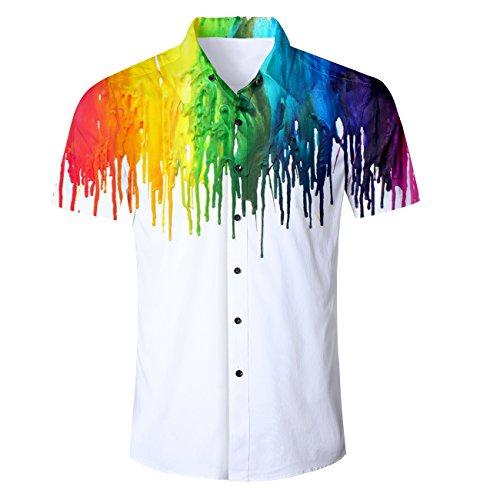 Fanient Mens Hawaiian Shirts 3D Gay Pride Print Aloha Shirts Rainbow Cotton Button Down Short Sleeve L