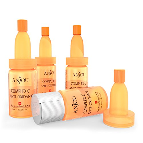 Anjou Swiss Vitamin C Serum, Complex C Anti-Oxidant for Face with Hyaluronic Acid, Age Defying, Separate Bottles for Weekly Use - 4 x 7ml / 0.23fl.oz.