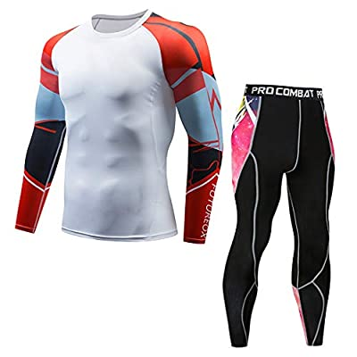 TIFENNY Men's Casual Fitness T-Shirt Fast Drying Elastic Tops Pants Sports Tight Suit Summer Casual Gym Sets