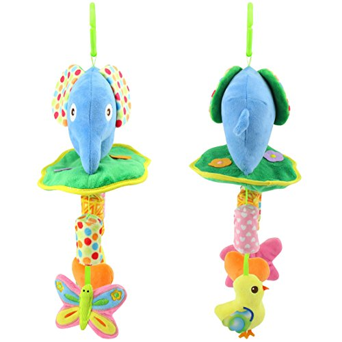 Baby Toys Soft Hanging Rattle Toy Infant Stroller Car Seat Crib Cute Travel Activity Plush Elephant Toy for Boys Girls by Shinybaby by Shinybaby (Image #2)