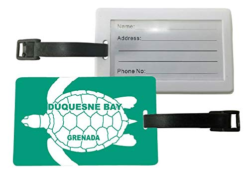Duquesne Bay Grenada Green Turtle Design Souvenir Travel Luggage Tag 2-Pack (Grenada Imports)
