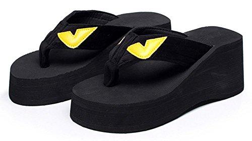 Sfnld Vrouwen Leuke Cartoon Zomer Thong Flip Flop Platform Sleehak Slippers Sandalen Zwart 2