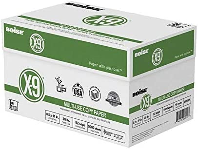 Boise(R) X-9(R) Paper, 8 1/2in. x 11in, 20 Lb, Bright White, 500 Sheets Per Ream, Case of 10 Reams (2 CASES)