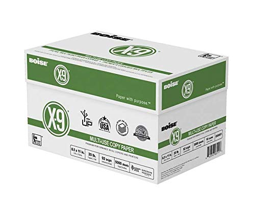Boise(R) X-9(R) Paper, 8 1/2in. x 11in, 20 Lb, Bright White, 500 Sheets Per Ream, Case of 10 Reams (2 CASES)