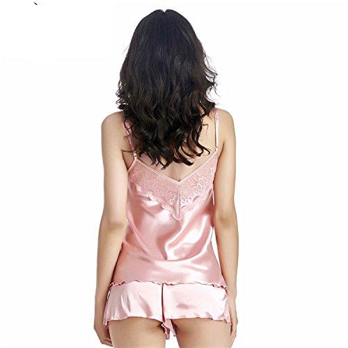 Pajama Sets Sleepwear Pajamas Women Silk Home Clothing Suit Clothes Shorts Sleepwear Female nightgow at Amazon Womens Clothing store:
