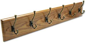 Safco 4217MO Medium Oak Multi-Hook Wall Coat Rack