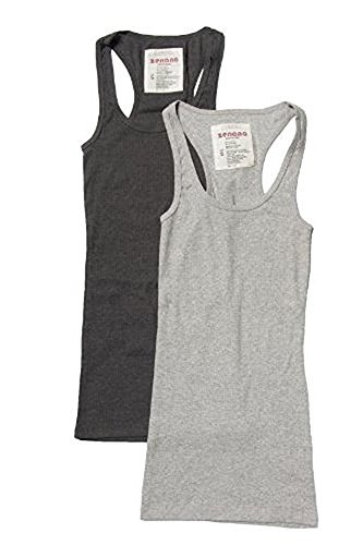 Trendyfriday Women's Ribbed Racerback Athletic Active Tank Tops 2 or 4 Packs, LARGE Charcoal, H Gray