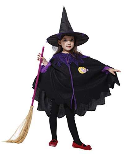 La Vogue Kids Witch Costume Halloween Fancy Dress Cape Hat Outfit Purple 4-6Y (Common Halloween Costumes)