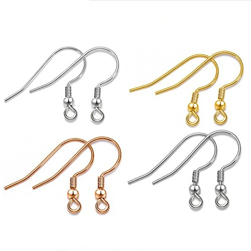 Setita 925 Sterling Silver 20mm French Hook Ball and Coil Ear Wires Earring Hooks for Jewelry Making 40pcs, 4 Different Colors