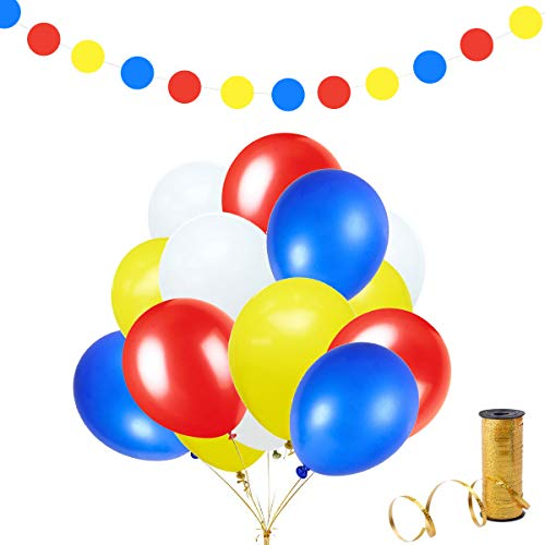zorpia 10 inch Latex Balloon White Yellow red Blue 50 pcs with Paper Circle Garland & 65 Yard Ribbons for Birthday Party Decoration Wedding Baby Shower