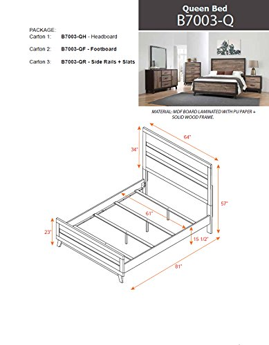 Kings Brand La Forest Queen Size Rustic Mahogany & Dark Ebony Wood Bedroom Set, Bed. Dresser, Mirror, Chest & 2 Night Stands