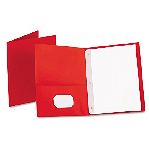 Oxford 57711 Twin-Pocket Folders with 3 Fasteners, Letter, 1/2-Inch Capacity, Red, 25/Box