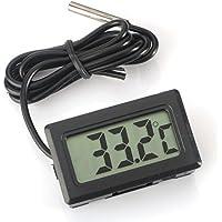WINGONEER Termometro digitale LCD Monitor di temperatura con sonda esterna Per piccolo freezer frigorifero Aquarium - Nero