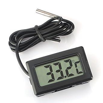 WINGONEER Monitor de temperatura Digital LCD Termómetro con sonda externa para el refrigerador y congelador acuario --Black: Amazon.es: Grandes ...