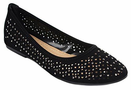 Diana85 Strass Laser Cut Mocassins Baller Chaussures Plates Noir