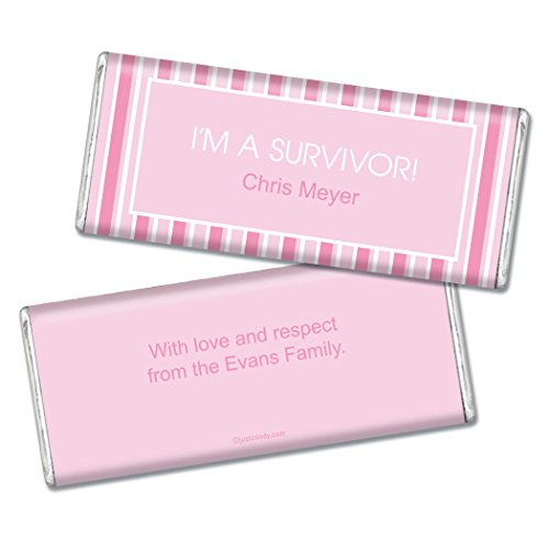 Stripes Personalized Chocolate (Breast Cancer Awareness Personalized Chocolate Bar Pinstripe Breast Cancer Survivor - Fully Assembled (12 Count))