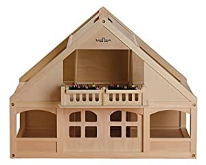 Small World Toys Ryan's Room Classic Wooden Dollhouse with 6 Rooms and Balcony