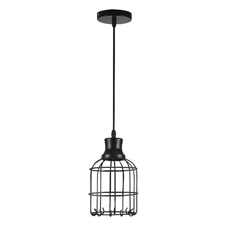 Lámpara colgante industrial retro, de metal geométrico, jaula para ...