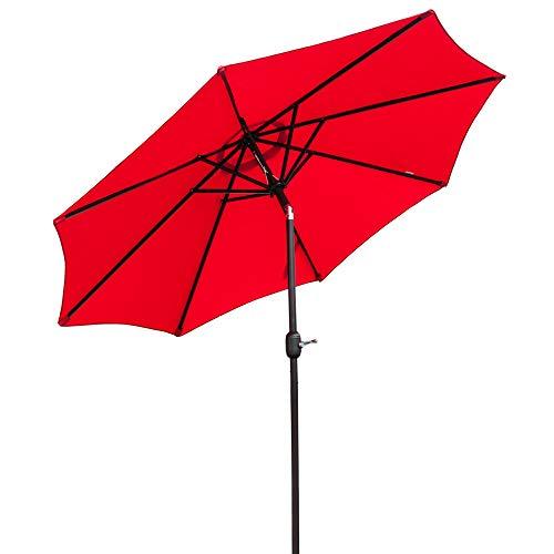 Bonnlo 9 ft Heavier Pole Thicker Fabric with Easy Push Button Tilt Outdoor Patio Umbrella Aluminum Backyard Market Table Tilt and Crank Umbrella Red