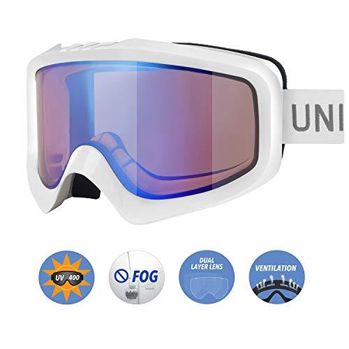 Optical Grade Goggles - Unigear Skido X1 Ski Goggles, Anti-Fog Snowboard Goggles for Men, Women & Youth – 100% UV Protection (Revo Blue Lens (VLT 65%))