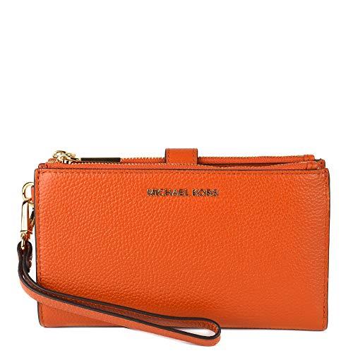 MICHAEL By Michael Kors Jet Set Orange Leather Double Zip Wristlet