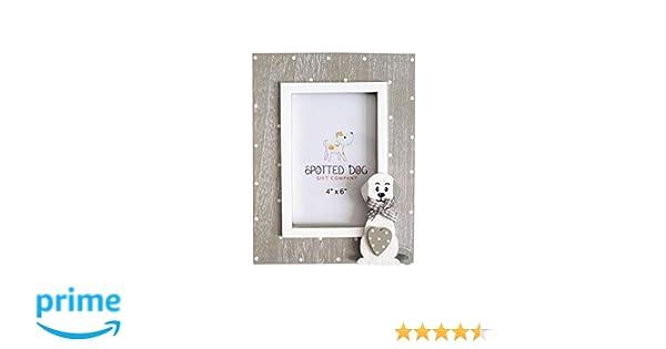 SPOTTED DOG GIFT COMPANY Marco de Fotos de Madera Retrato 10 x 15 cm portafotos Color Blanco y Gris con Perro, de pie o para Colgar en Pared, Regalo ...